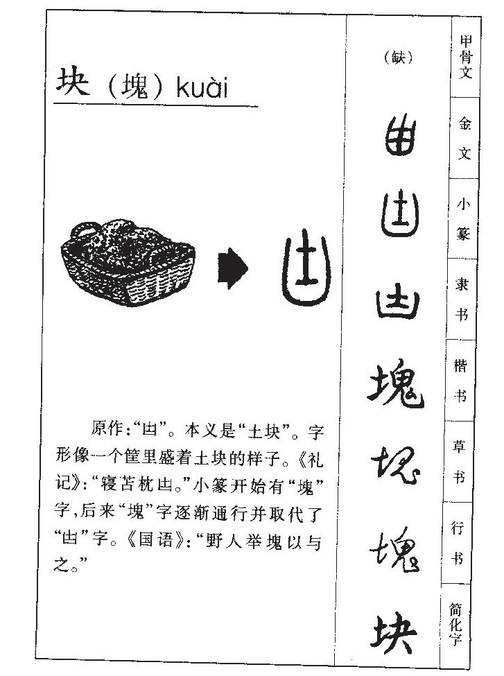 块的部首|块的拼音|块的组词|块的意思 - 查字典