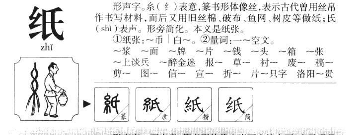 纸的部首|纸的拼音|纸的组词|纸的意思
